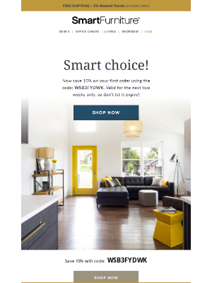Smart Furniture, Inc. - Here's Your 10% Off Coupon!