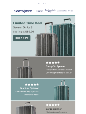 Samsonite - Limited Time: On Air 3 Starting at $89.99