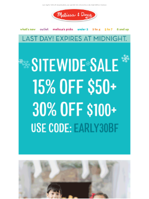 Melissa & Doug LLC - Our Sitewide 30% Off Sale Expires at Midnight!