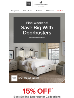 Ashley Furniture HomeStore - ⚠️ 15% off Doorbusters disappears Monday.