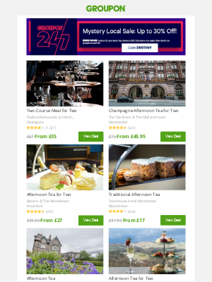 Groupon (UK) - 👇 The prices keep on falling: Up to 30% off on your favorite British food!