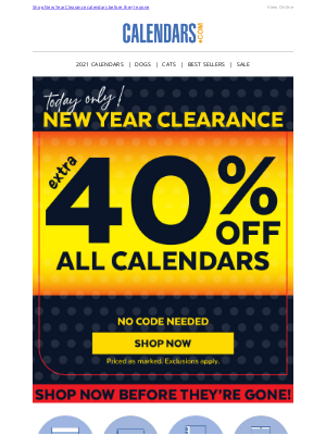 Calendars - Where have you been?! Extra 40% off ends soon!