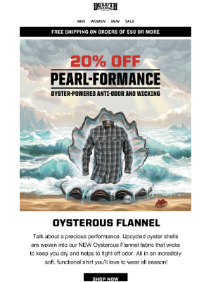 Duluth Trading Company - 20% OFF Oysterous Flannel - Save Some Clams!