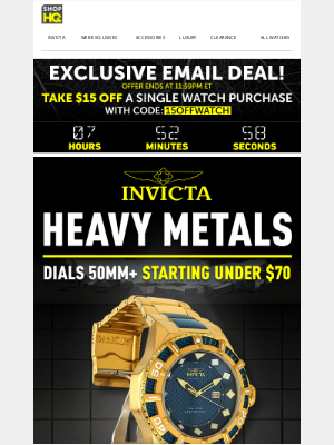 ShopHQ - EMAIL EXCLUSIVE! $15 OFF Your Next Watch Purchase