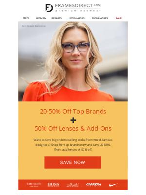 FramesDirect - Best Sellers   20-50% Off 80+ Top Brands