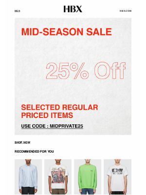 HYPEBEAST - 25% Off on Selected Regular Priced Items