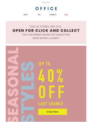 OFFICE Shoes (UK) - Last chance to get up to 40% off trainers
