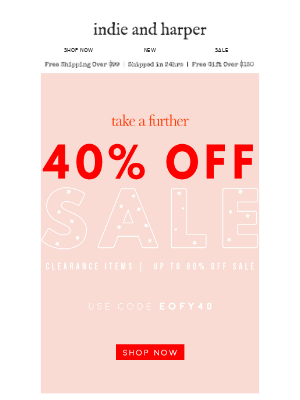 EOFY | 40% OFF SALE (up to 80% off clearance styles)
