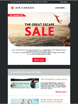 Air Canada - Our Great Escape Sale is on now. Save on all destinations.