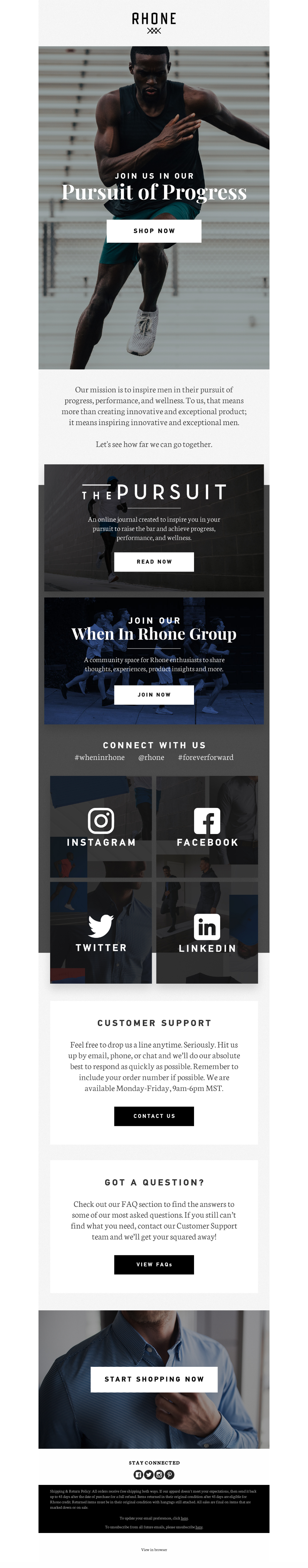 Email example from activewear brand Rhone