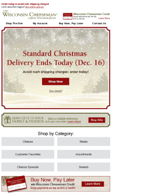 Wisconsin Cheeseman - Last Day for Standard Christmas Delivery