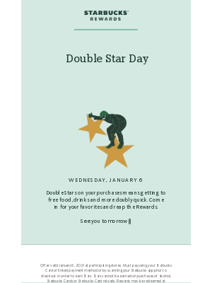 Starbucks - Double Star Day is WEDNESDAY
