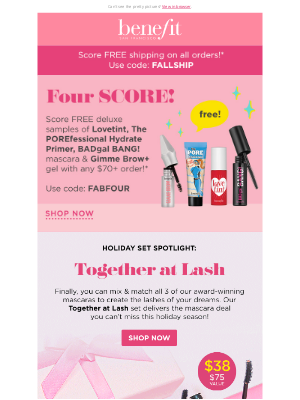 Benefit Cosmetics - Get a full face of bestsellers for FREE!