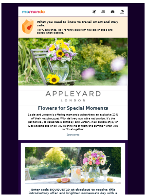 20% off bouquets at Appleyard London for blooms no matterthe miles 🌼