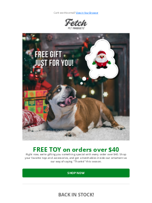 Fetch Pet Products - Get a FREE TOY with your order