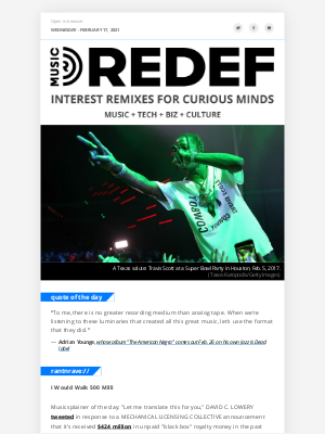 REDEF - jason hirschhorn's @MusicREDEF: 02/17/2021 - Royalties Lost & Found, Merck Answers Your Questions, Plague Raves, Frank Ocean, Adrian Younge...