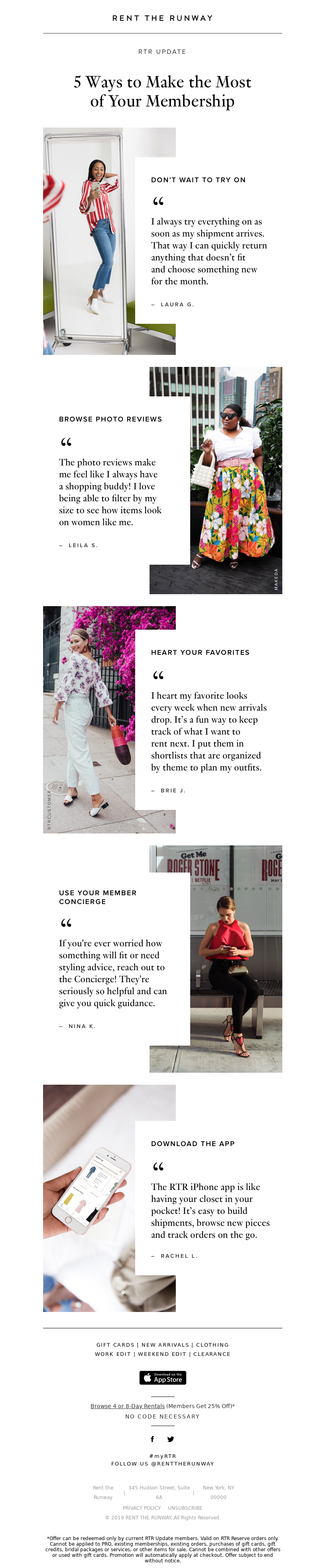 Onboarding email from Rent the Runway