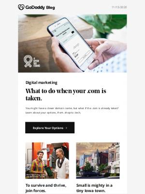GoDaddy - Choosing a domain when .com is taken.