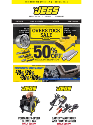 JEGS Performance - JEGS Overstock Sale - Fans, Chargers, Fittings, Tools and much more!