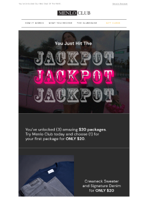Menlo House - LUCKY WINNER | You Just Hit The JACKPOT.