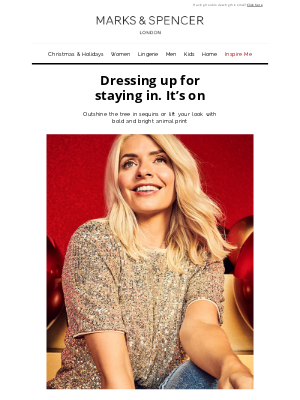 Marks and Spencer USA - Dressing up for staying in. It's on