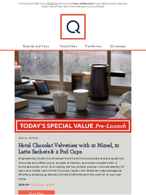 QVC (UK) - See Today's Special Value Pre-Launch: Hotel Chocolat Velvetiser with 10 Mixed, 10 Latte Sachets & 2 Pod Cups