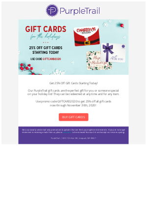PurpleTrail - Gift Cards for the Holidays – 25% Off for 1 Week Only