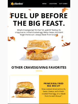 Hardee's - This Cravesgiving: fuel your feast.