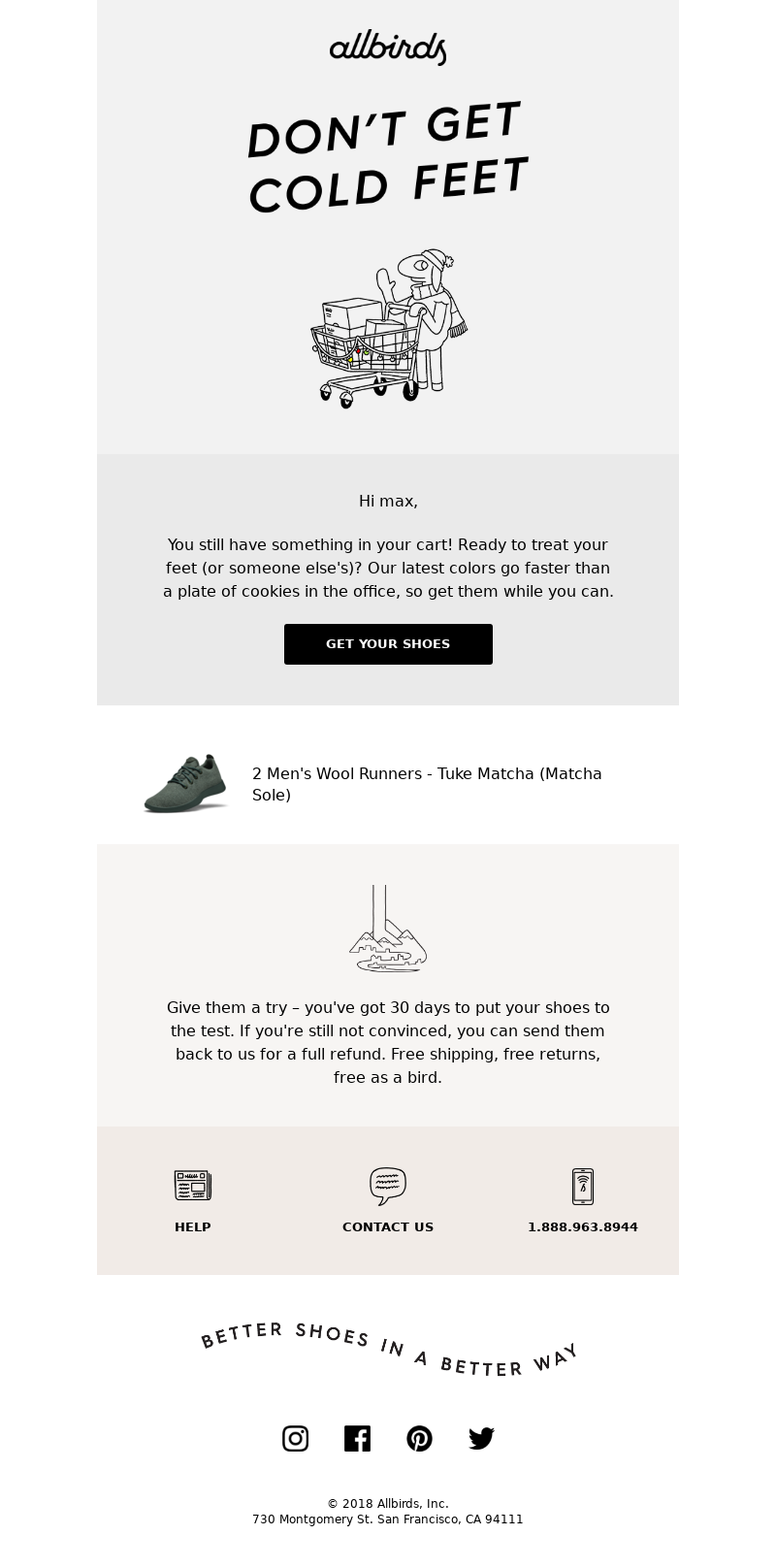 Abandoned cart email from Allbirds