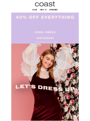 Coast Stores (UK) - Extra 20% off dresses | Take a bite