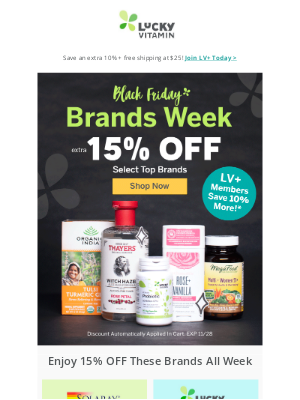 LuckyVitamin - Early Black Friday 15% Off Top Brands