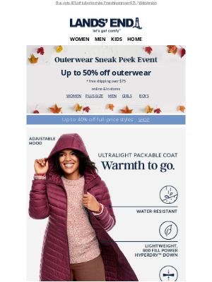 Lands' End - Up to 50% off new frosty-weather faves like ultralight down coats