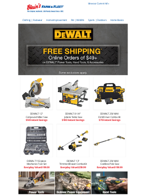 Blain's Farm and Fleet - Free Shipping on DEWALT Tools–Limited Time Only!