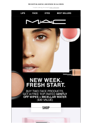 MAC Cosmetics - FREE wipes! For your freshest face forward.