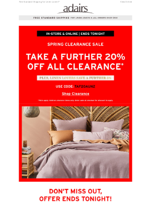 Adairs (AU) - ENDS TONIGHT! Take a further 20% off clearance.