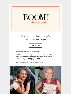 BOOM by Cindy Joseph - Live Makeup Tips and more... (Tomorrow's Boom Ladies' Night)