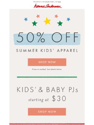 Final days! 50% off kids' apparel