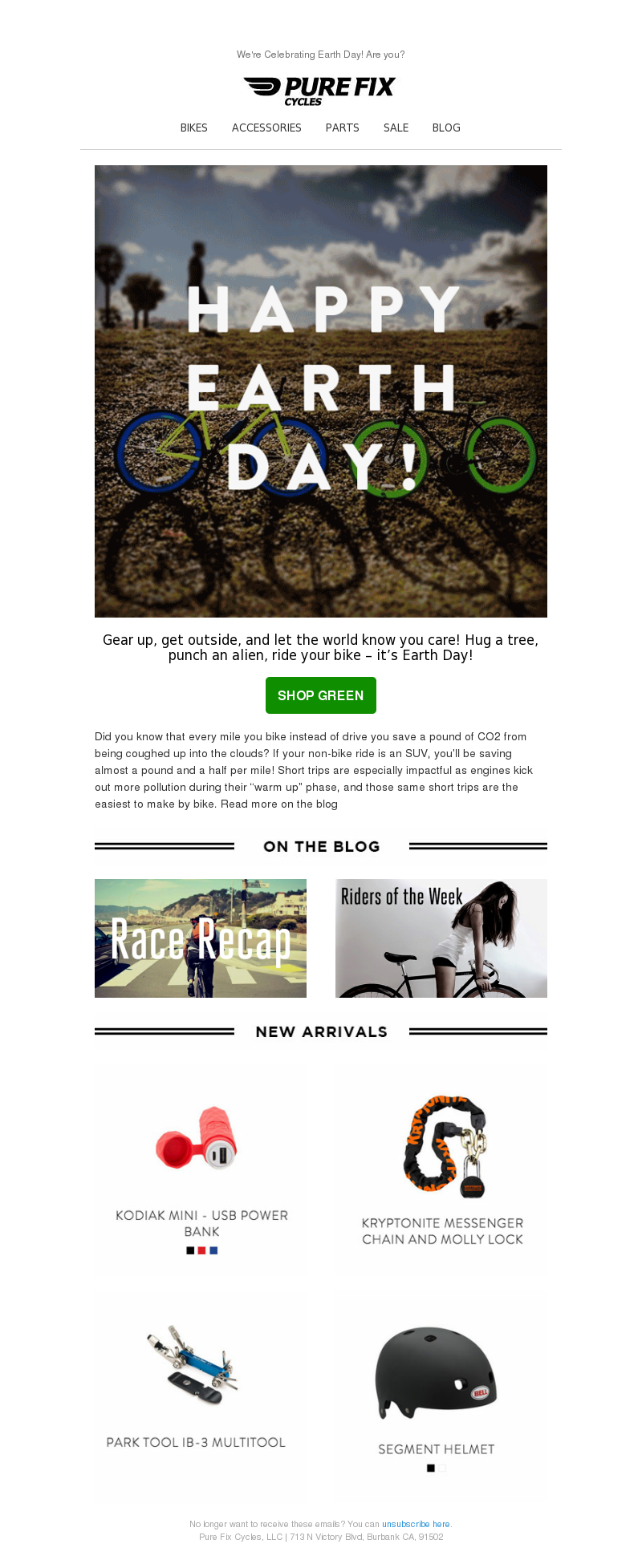 We're Celebrating Earth Day! Are you? BIKES ACCESSORIES PARTS SALE BLOG Gea