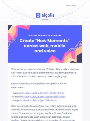 Algolia's Summer '19 Release Webinar