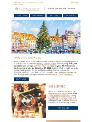 AmaWaterways - Expiring Soon: Holiday Triple Savings for 2021 Season