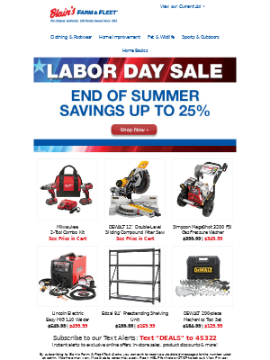 Blain's Farm and Fleet - Last Chance: Up to 25% OFF End of Summer Savings!