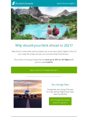 StudentUniverse - The perks of booking your 2021 travels now