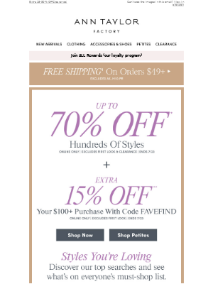 Ann Taylor - Up To 70% Off! 2 For $20 Summer Tops! & More!
