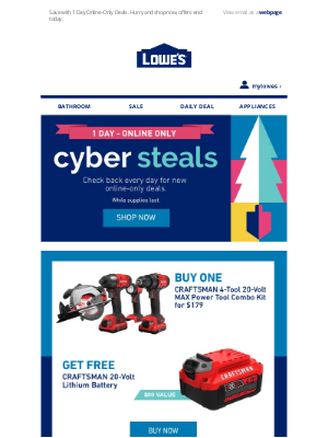 Lowes Canada - Save when shopping online with Cyber Steals.