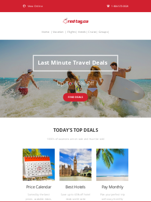 Red Tag Vacations (CA) - Last Minute Travel Deals!