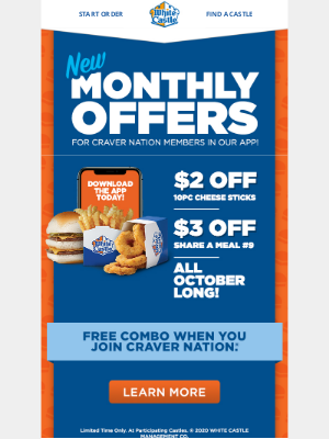 White Castle - October Craver Nation Deals are here!