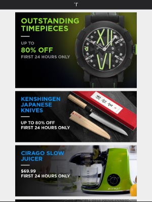 Prices for 24 Hrs Only: Cirago Slow Juicers for $69.99, Kenshingen Japanese Knives up to 80% off, and more!