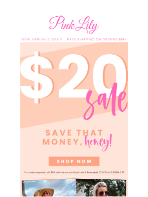 The Pink Lily Boutique - $20 SALE is back!