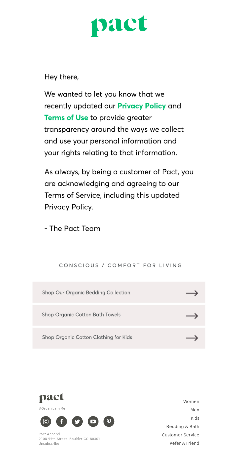 PACT Apparel - We've updated our privacy policy + terms and conditions.