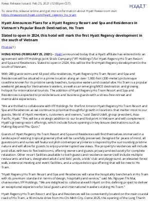 Hyatt Hotels - Hyatt Announces Plans for a Hyatt Regency Resort and Spa and Residences in Vietnam's Popular Beach Destination, Ho Tram